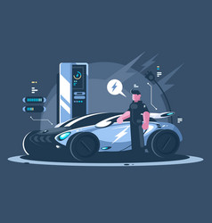 electric car and driver near auto vector image