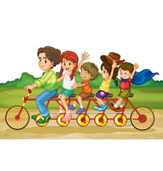 Family on tandem bike vector image vector image