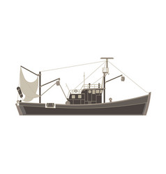 fishing boat flat icon isolated vessel cargo ship vector image