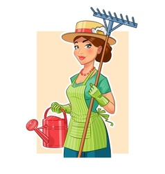 Gardener girl with rake and vector image vector image