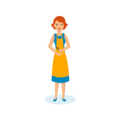 girl hairdresser in apron with scissors and comb vector image