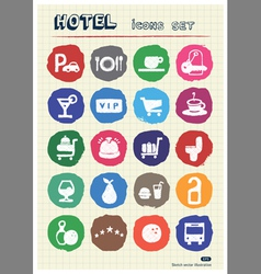 Hotel and service web icons set drawn by chalk vector image vector image