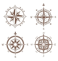 Isolated vintage or old compass rose icons vector image vector image