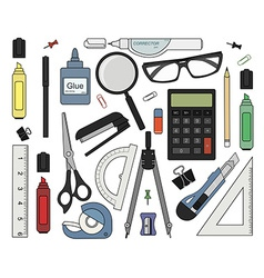 Set of color stationery tools vector image