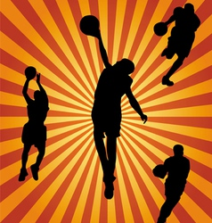 basketball silhouette collection vector image