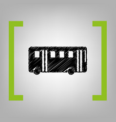bus simple sign black scribble icon in vector image