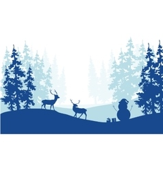 Christmas scenery deer and snowman silhouette vector