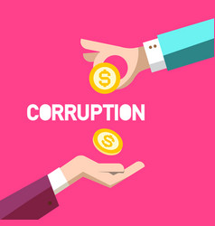 corruption symbol flat design with two hands and vector image