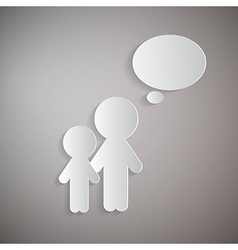 Cut Paper Men People With Empty Speech Bubble on vector image vector image