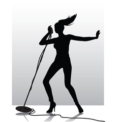 female singer silhouette vector image vector image