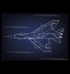 fighter on a blue vector image