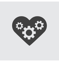 Gear in heart icon vector image
