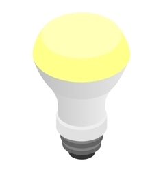 Glowing LED bulb icon isometric 3d style vector image vector image