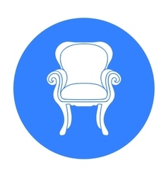 Wing-back chair icon in black style isolated on vector image
