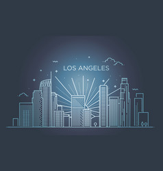 banner of los angeles city in flat line trendy vector image