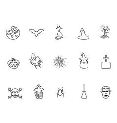 black halloween outline icons set vector image
