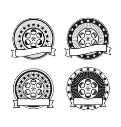 cinema reel black and white retro stamps vector image vector image