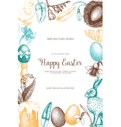 happy easter day vintage design vector image