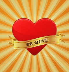 Heart with ribbon and phrase Be Mine vector image
