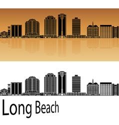 Long Beach V2 skyline in orange vector image vector image