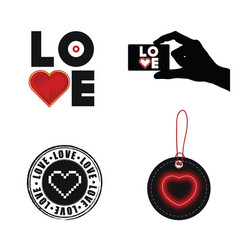 love heart set on white background vector image vector image