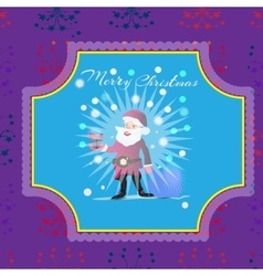 Merry Christmas greeting card with santa designs vector image