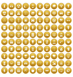 100 solar energy icons set gold vector