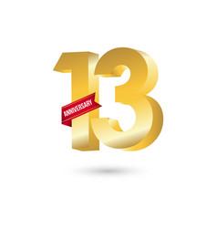 13 year anniversary template design vector