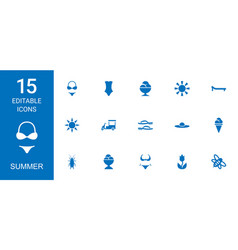 15 summer icons vector image