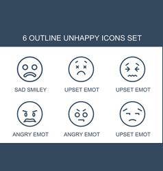 6 unhappy icons vector