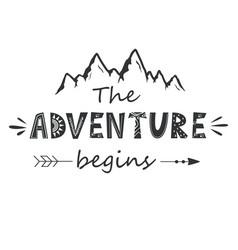 Adventure begins lettering in scandinavian vector
