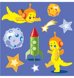 Animation astronauts dragons vector