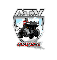 Atv quad bike impossible places vector