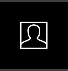 avatar line icon on black background black flat vector image