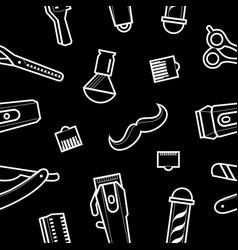 Barbershop background - haircuts and shaving tools vector