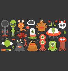 big set of cute character of aliens and monsters w vector image