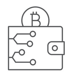 Bitcoin wallet thin line icon money and finance vector