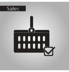 Black and white style icon Shopping cart vector