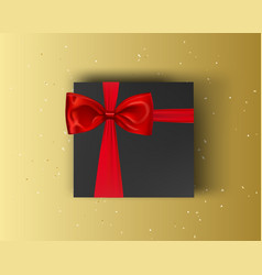 blank black gift box with red ribbon and red bow vector image