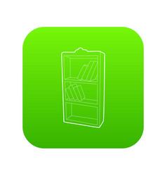 bookcase icon green vector image