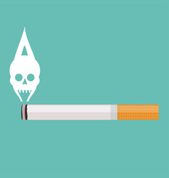 burning cigarette with a smoke formed skull dead vector image