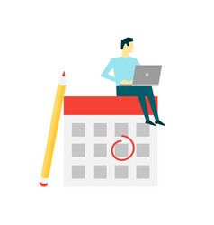 businessman sitting on calendar time vector image