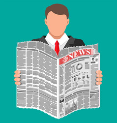 businessman with coffee reading daily newspaper vector image
