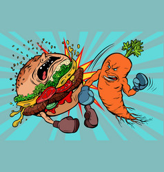 Carrots beats a burger vegetarianism vs fast food vector