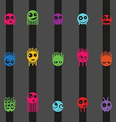 Cartoon cute monsters and stripes seamless pattern vector image