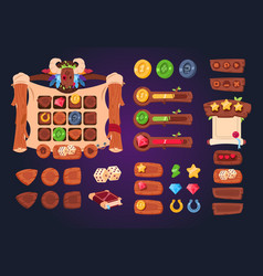 Cartoon game ui wooden buttons sliders and icons vector