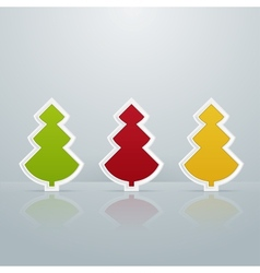 Colored Fir-Trees Object Set of Three vector image