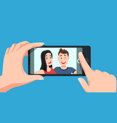 couple selfie romantic self portrait young vector image