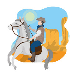 Cowboy on horse in desert vector