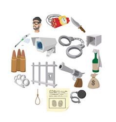 crime cartoon icons vector image
